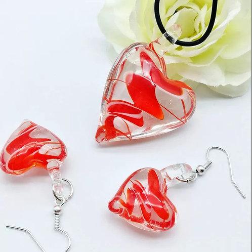 Red Glass Heart & Earring Set