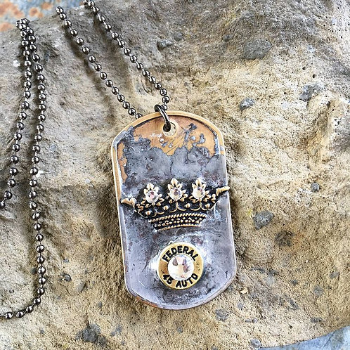 Queen Of The Range Dog Tag Bullet Ball Chain Necklace