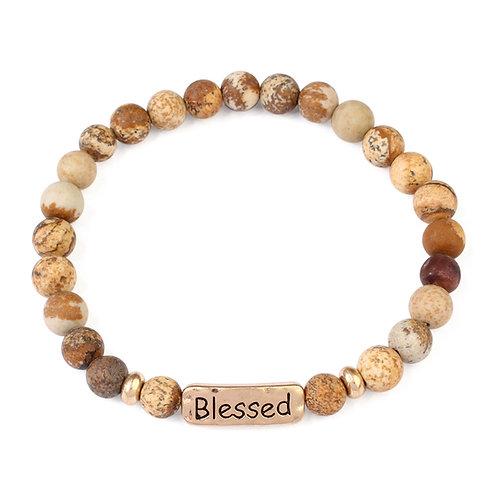 Blessed Natural Stone Stretch Bracelet