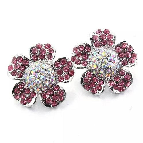 Pink Floral Rhinestone Snap