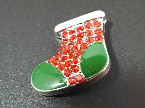 Green/Red Rhinestone Stocking Snap