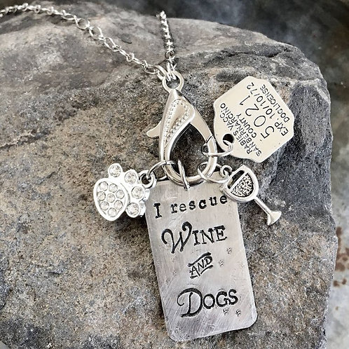I Rescue Wine and Dogs Silver Treasure Necklace