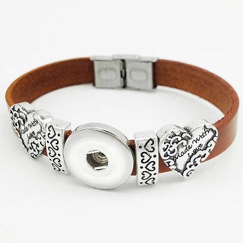Brown Leather Heart Slide Bracelet