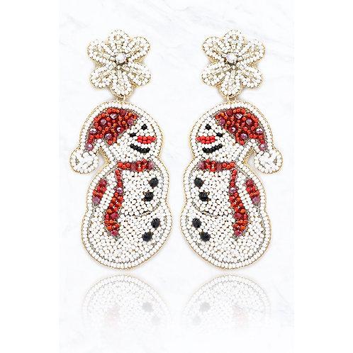 Beaded Snowman Snowflake Earrings