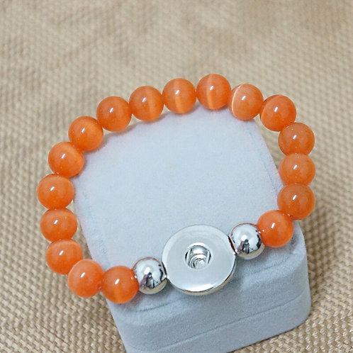 Orange Beaded Stretch Bracelet