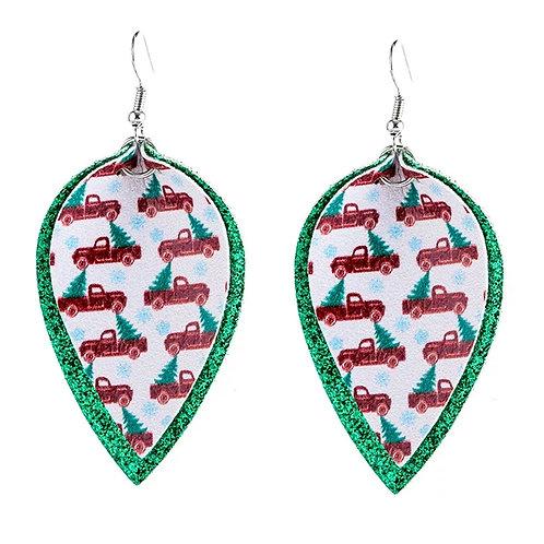 Green Glitter Red Truck Earrings