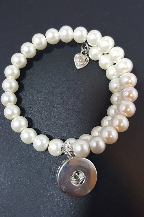 Pearl Beaded Bracelet with Made with Love Charm