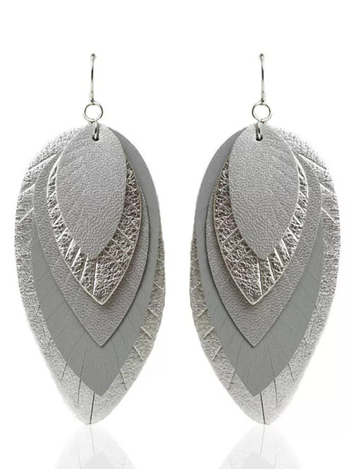 Silver Gray Five Layer Fringe Earrings