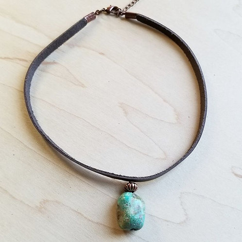 Leather Choker with African Turquoise Accent