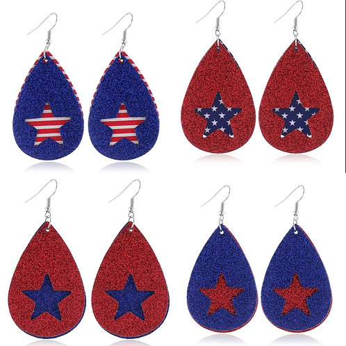 Independence Day Teardrop Earrings