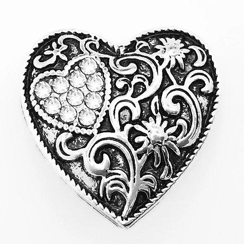 Heart Rhinestone Snap