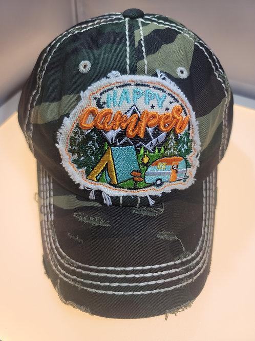Happy Camper Distressed Baseball Cap
