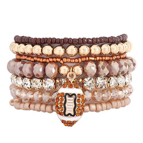Mixed Beads Football Pendant Bracelet