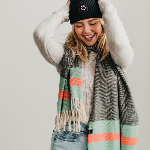 Charcoal Kennedy Red/Green Stripe Scarf