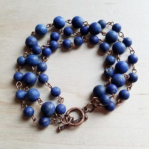 Frosted Blue Lapis Triple Strand Bracelet