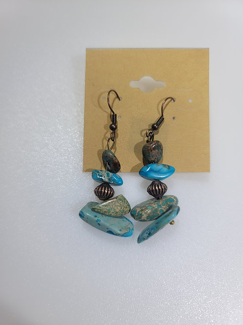 Stacked Regalite and Copper Earrings