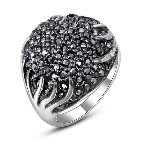 Big Sparkling Black Rhinestone Ring