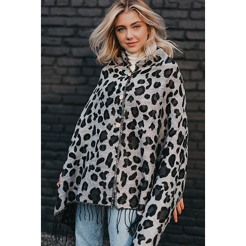 Grey Leopard Button Scarf Wrap Shawl