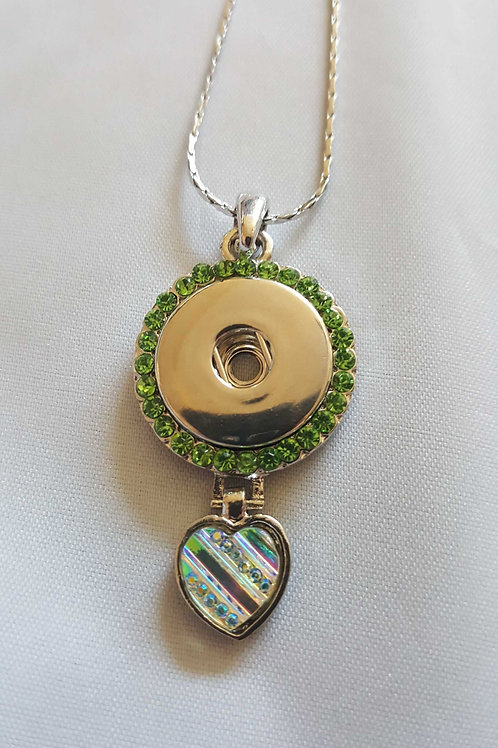 Green Rhinestone Iridescent Heart Necklace