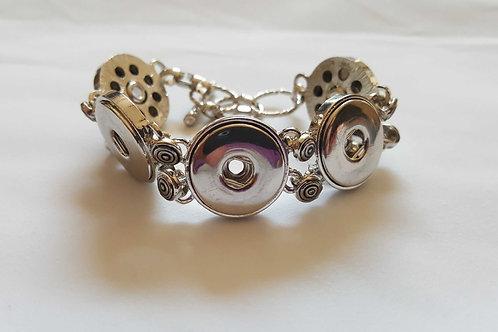 Silver Swirl Multi Snap Bracelet