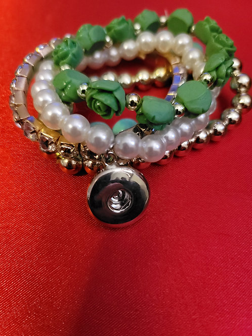 Green/Gold/Rhinestone Beaded Bracelets
