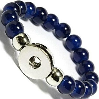Navy Blue Beaded Stretch Bracelet