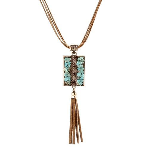 Brown Stone Chip Tassle Necklace