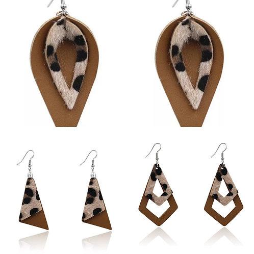 Brown Animal Print Earrings