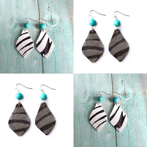 Leather Zebra Stripe Earrings