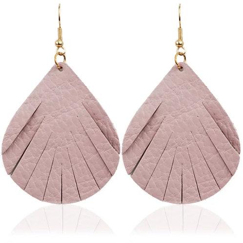 Rose Leather Fringe Earrings