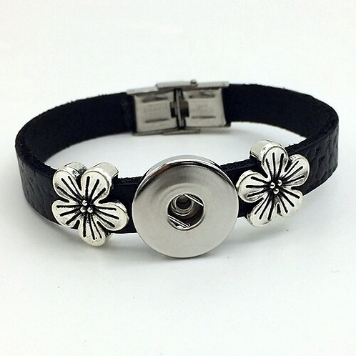 Black Leather Floral Slide Bracelet