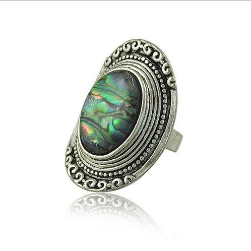 Oval Abalone Shell Finger Ring