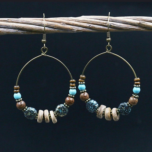 Boho Beaded Hoop Earrings
