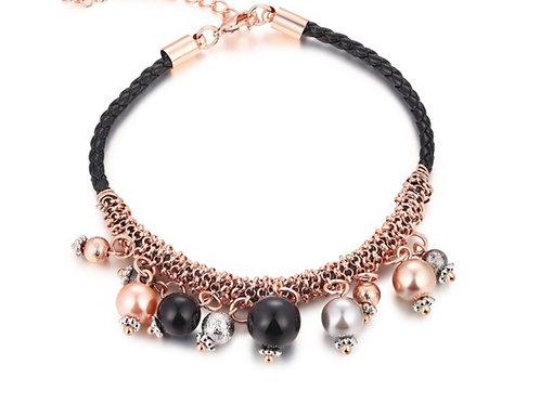 Black Leather & Rose Gold Beaded Bracelet
