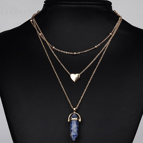 Sodalite Crystal Multilayer Heart Necklace