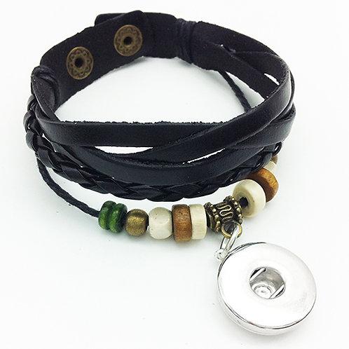 Leather/Wood Beaded Bracelet