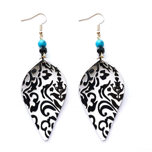 Leather Black & White Swirl Earrings