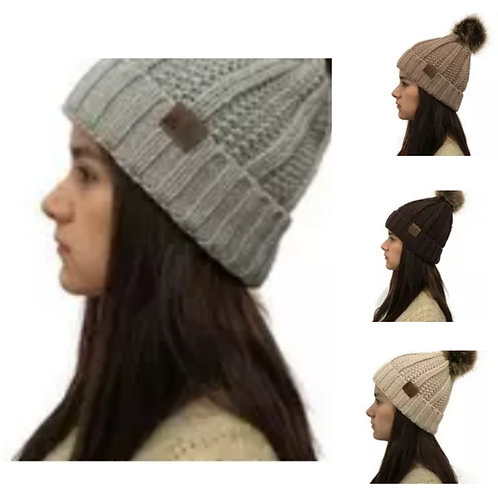 CC Knit Hat Faux Fur