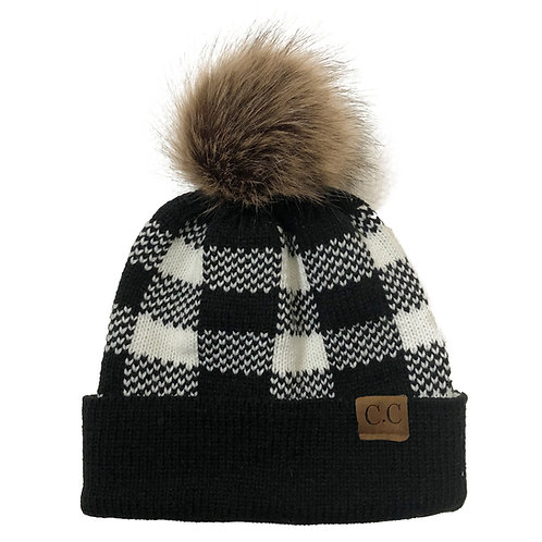 Buffalo Check Knit Hat with Pom