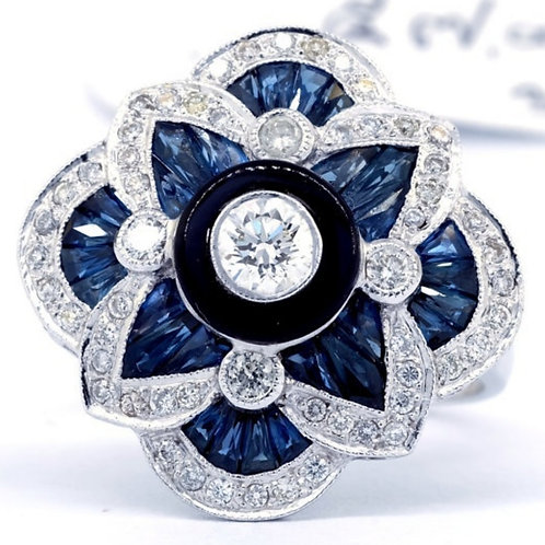 Silver Blue Sapphire Flower Ring