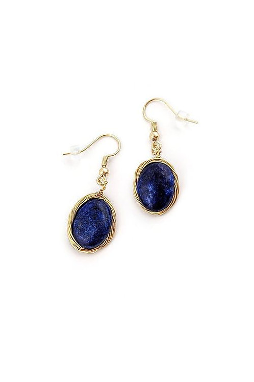 Gold Wire Wrapped Lapis Lazuli Earrings