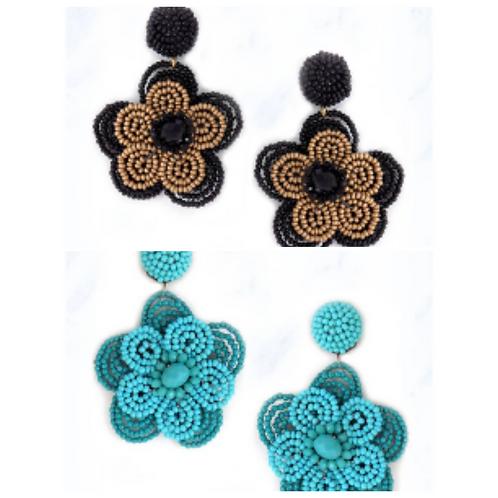 Layered Flower Bead Earrings