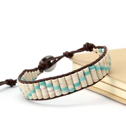 Disk Shape Howlite/Turquoise Bracelet