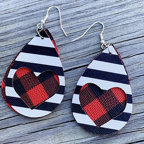 Buffalo Check Stripe Heart Earrings