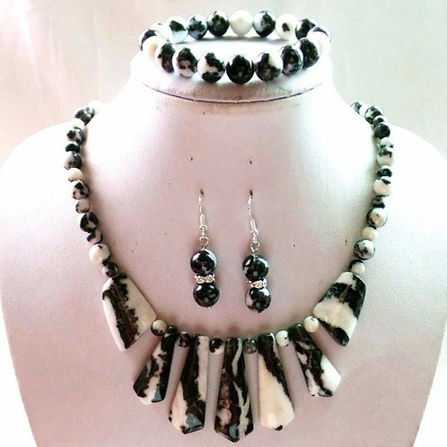Black & White Zebra Jasper Set