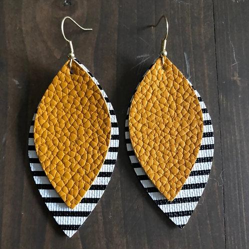 Mustard Black & White Stripe Earrings