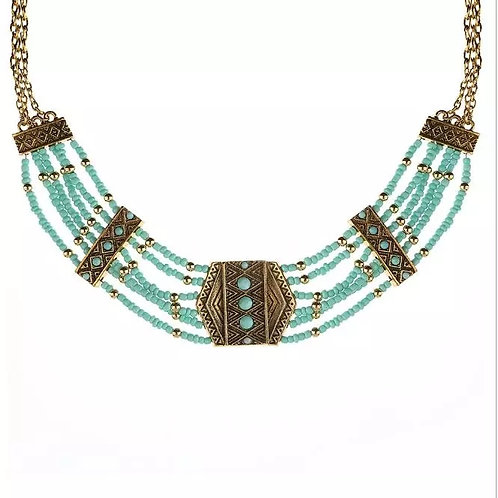 Boho Seed Beads Layer Strand Necklace