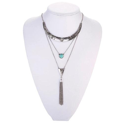 Boho Oval Moon Tassle Necklace