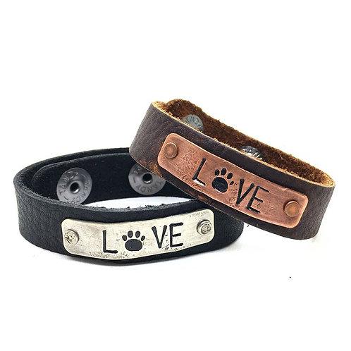 Paw Print Skinny Leather Bracelet