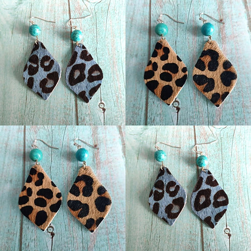 Leather Animal Print Earrings